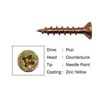 Screws Chipboard Pozi Drive  8g x 28mm - (1000)