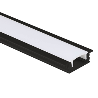 LED Al Pro Shallow Recessed Black with Frosted Cover