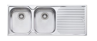 Oliveri Diaz Double Bowl Topmount Sink With Drainer