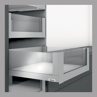 Blum LEGRABOX free 450MM Inner Drawer C Height 177MM in Stainless Steel 40KG with HIGH GLASS DESIGN ELEMENT to suit 600MM Wide Drawer with TIP-ON BLUMOTION. For drawer weight of 15-40kg