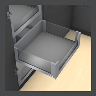 Blum LEGRABOX free 450MM Inner Drawer C Height 177MM in Orion Grey 40KG with LOW GLASS DESIGN ELEMENT to suit 900MM Wide Drawer with TIP-ON BLUMOTION. For drawer weight of 0-20kg