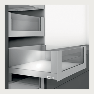 Blum LEGRABOX free 450MM Inner Drawer C Height 177MM in Silk White 70KG with HIGH GLASS DESIGN ELEMENT to suit 600MM Wide Drawer with TIP-ON BLUMOTION. For drawer weight of 35-70kg