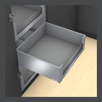 Blum LEGRABOX pure 350MM Inner Drawer C Height 177MMM in Orion Grey 40KG with LOW GLASS DESIGN ELEMENT to suit 450MM Wide Drawer with TIP-ON BLUMOTION. For drawer weight 15-40kg