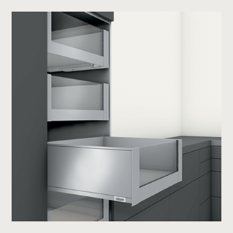 Blum LEGRABOX pure 400MM Inner Drawer C Height 177MM in Silk White 40KG with HIGH GLASS DESIGN ELEMENT to suit 600MM Wide Drawer with TIP-ON BLUMOTION. For drawer weight 15-40kg