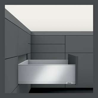 Blum LEGRABOX pure High Fronted C Height 177MM drawer 400MM TIP-ON BLUMOTION in Orion Grey 40KG for drawer weight 15-40kg