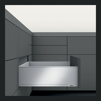 Blum LEGRABOX pure High Fronted C Height 177MM drawer 450MM TIP-ON BLUMOTION in Terra Black 40KG for drawer weight 0-20kg