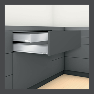 Blum LEGRABOX pure Inner Drawer M Height 90.5MM drawer 350MM TIP-ON BLUMOTION in Orion Grey 40KG for drawer weight 15-40kg