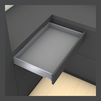Blum LEGRABOX Std pure M Height 90.5MM drawer 350MM Integrated BLUMOTION in Orion Grey 40KG