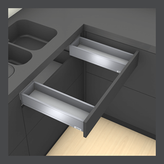 Blum LEGRABOX pure Sink Drawer M Height 90.5MM drawer 400MM Integrated BLUMOTION in Orion Grey 40KG