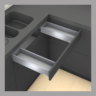 Blum LEGRABOX pure Sink Drawer M Height 90.5MM drawer 500MM Integrated BLUMOTION in Anti-fingerprint Stainless Steel 40KG